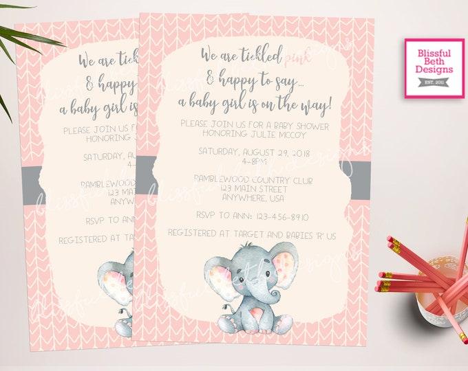 Elephant Baby Shower, Elephant Baby Shower Invitation, Elephant Baby Shower, Elephant, Elephant Shower Invitation, Pink and Gray Baby Shower