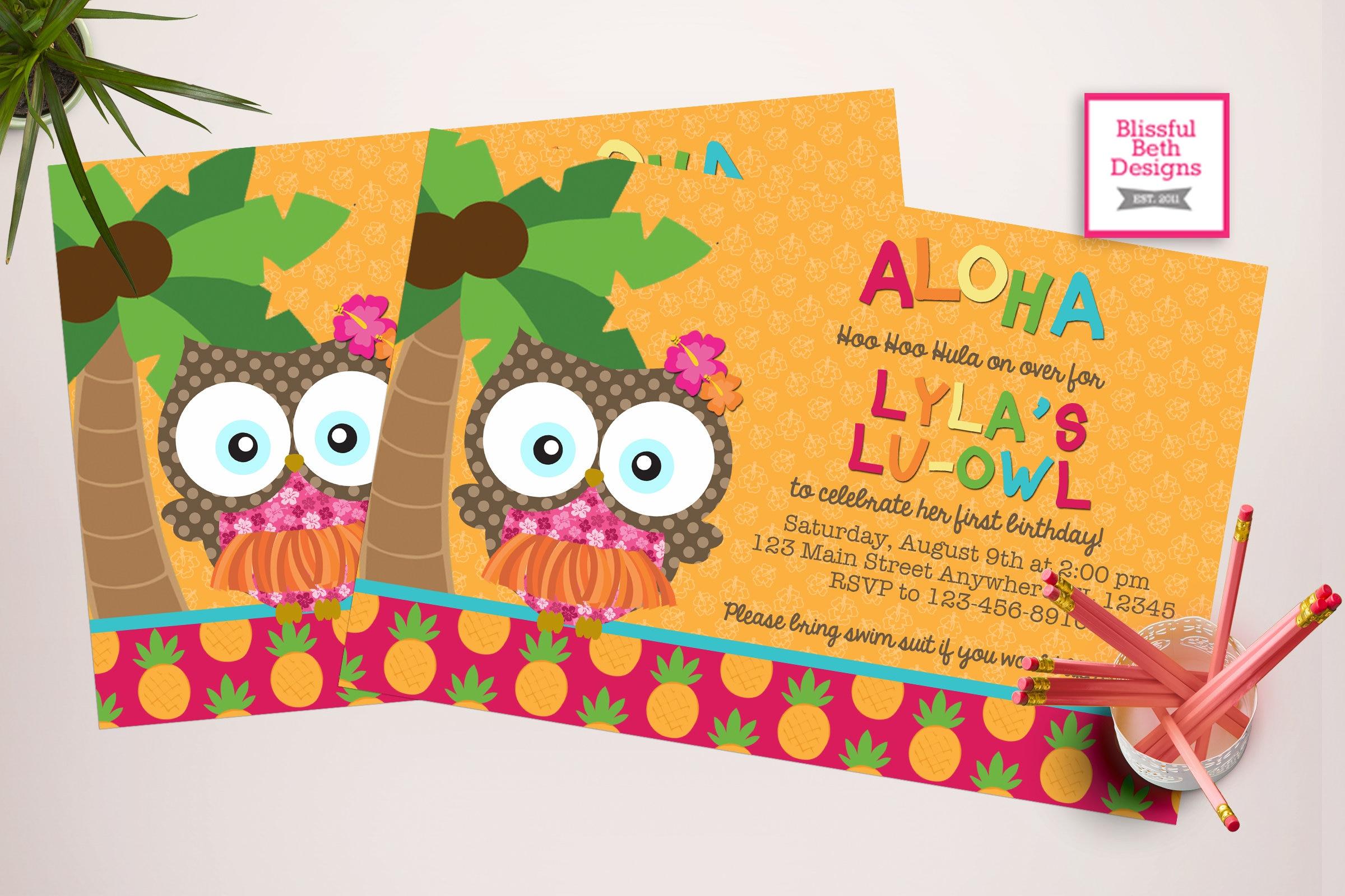 ALOHA LU OWL Birthday Lu owl Luau Aloha Owl Luau Owl Owl Invite