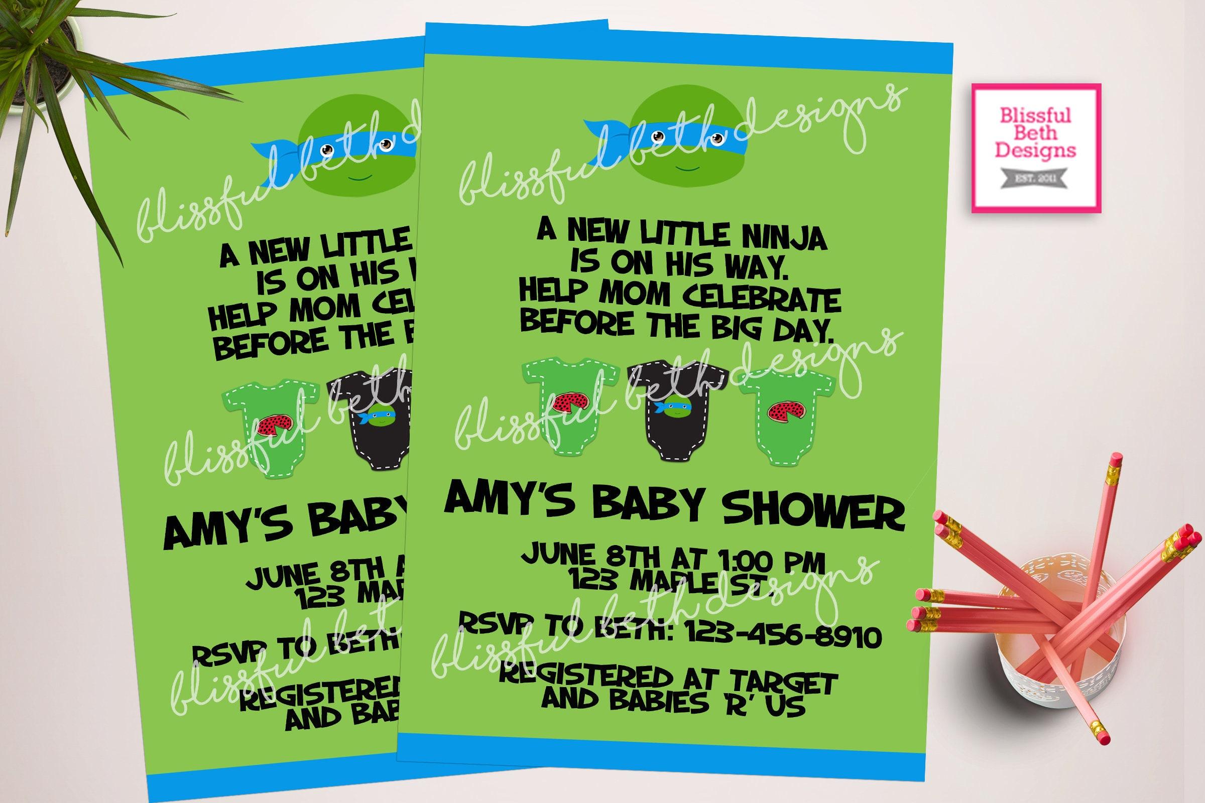 TMNT Baby Shower, Ninja Baby Shower Invitation, Ninja Shower Invitation,  Ninja Invite, Baby Ninja Turtle, TMNT, Ninja Turtle Baby