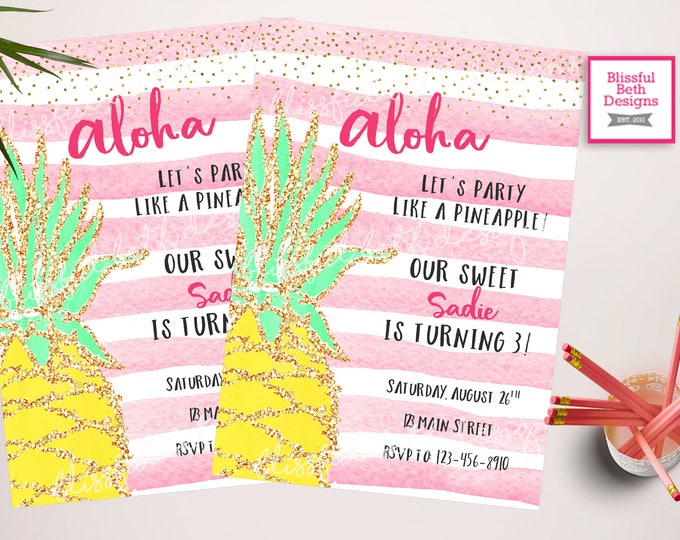 Party like a Pineapple Birthday Invitation, Aloha Birthday Invitation, Pineapple Birthday Invitation, Pineapple, Aloha, Pineapple Party