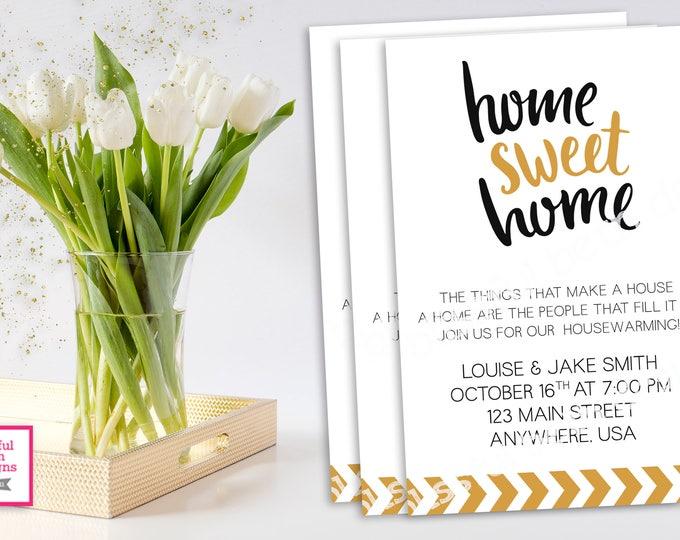 HOUSEWARMING INVITATION, Black and Gold HouseWarming, Housewarming Invitation, Home Sweet Home, House Warming, Modern House Warming Invite