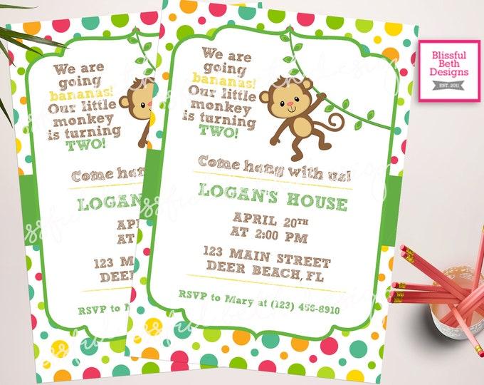 MONKEY BIRTHDAY INVITATION Going Bananas Birthday Invitation, Monkey Birthday Invite, Monkey Invitation, Monkey, Second Birthday