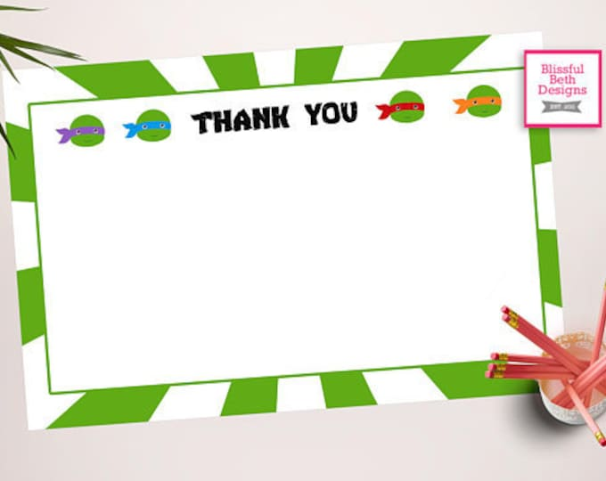 NINJA THANK YOU Ninja Turtle Printable Thank You Note, Instant Ninja Turtle Thank You Note, Thank You Note, Teenage Mutant Ninja Turtle Note