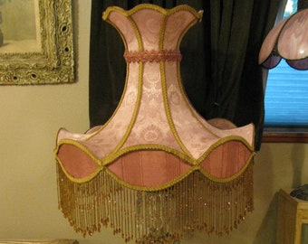 Victorian French Ex Large Lamp Shade 'Rose'  Bead Fringe Free Shipping!!