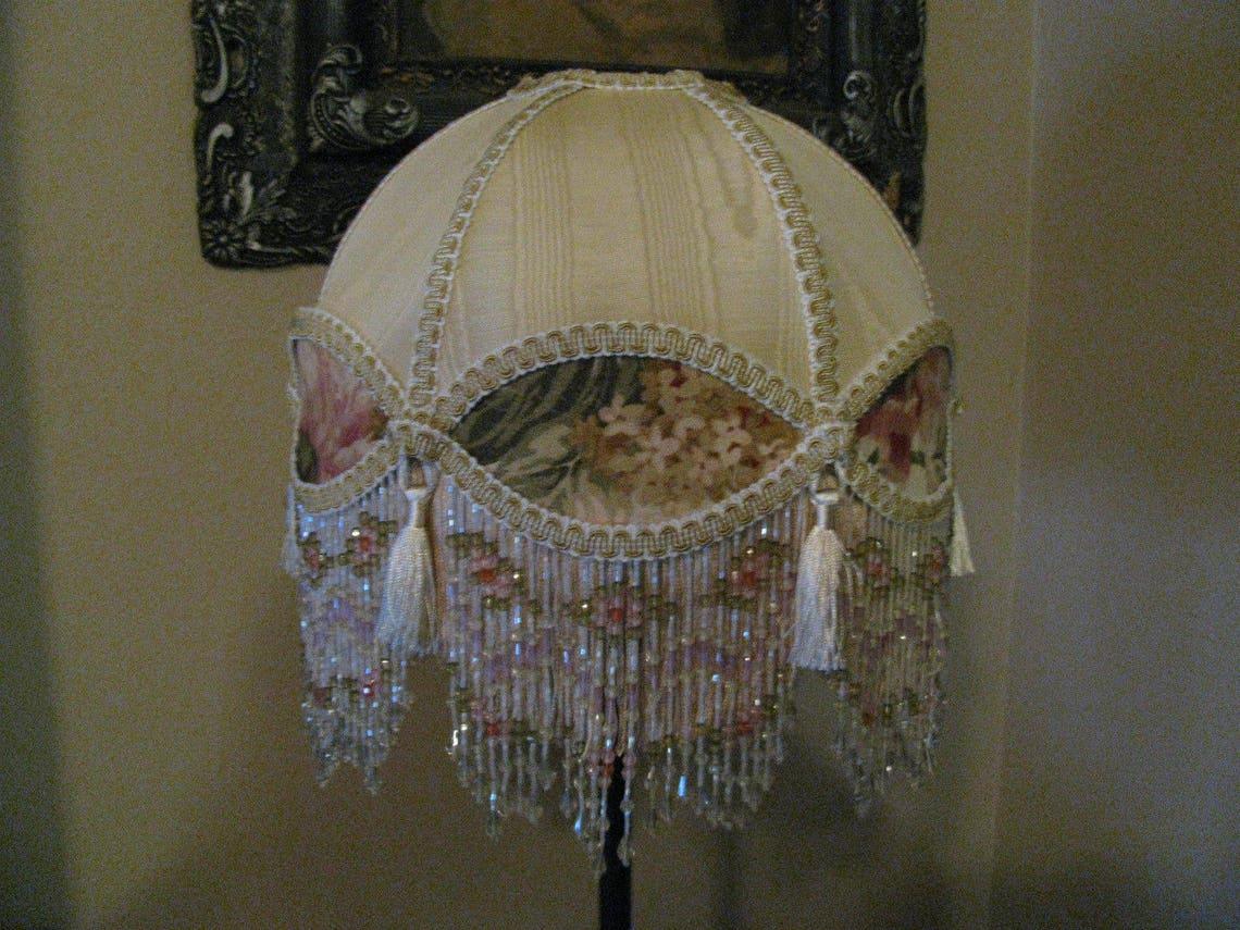 "Victorian French Medium Lamp Shade 'Royal Dome' ""Cream/ Rose"" Fringe 6"" Beads Free Shipping!!"