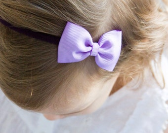 78d698e146c Bella Lilac Bow Headband OR Clip - Handmade Baby Headband - Baby to Adult  Nylon Headband African Violet