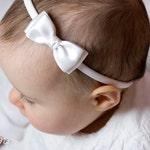 Baby Headbands, Hair bands, Headband, Flower Girl Headband, Newborn Headbands, Girl Headbands - Olivia White Satin Bow - Golden Beam