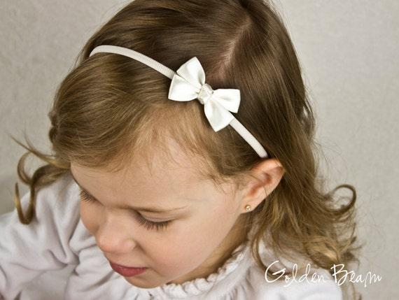 Golden Beam Flower Girl Headband Baby to Adult Headband Three Small Ivory Satin Bows Handmade Headband
