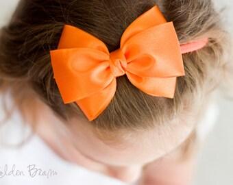 Newborn Headbands, Hair bands, Headband, Baby Headbands, Flower Girl Headband, Girl Headbands - Emma Orange Bow or Clip - Golden Beam