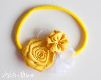 Yellow Flower Girl Headband -  Three Yellow and White Flowers Bouquet Handmade Headband