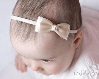 Baby Headbands, Hair bands, Headband, Flower Girl Headband, Newborn Headbands, Girl Headbands - Olivia Ivory Satin Bow - Golden Beam