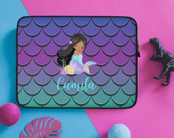 Mermaid Lightning Laptop Sleeve Personalization Available Back to School Laptop Cover