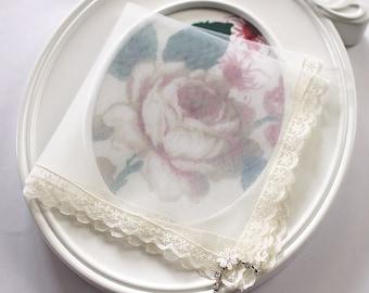Tulle Bride Handkerchief, Lace Handkerchief, Ivory handkerchief w/ Crystals, Hankie for Mother of the Bride Gift, Wedding Hanky from Groom