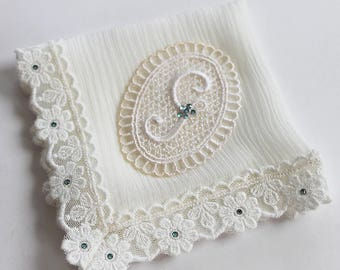 Something Blue Silk Handkerchief, Bride Handkerchief from Mom, Monogrammed handkerchief for Wedding