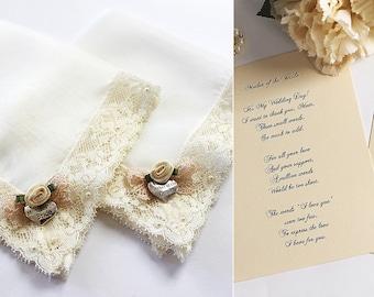 Mother of the Bride and Groom Handkerchief set, Gift from Bride, Mother of the Bride Hankie, Wedding handkerchiefs, Lace handkerchiefs, Card