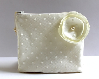 Swarovski Pearls Polka Dot Tulle Bridal Mini Clutch Purse, Ivory Cosmetic Bag Case, Makeup Pouch, Bridal Shower Gift, Bridal Party Gifts