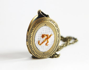 Embroidered Monogram Locket Bridesmaid Necklace, Cotton Anniversary Gift, Personalized Gifts, Antique Bronze Jane Austen Embroidery Jewelry