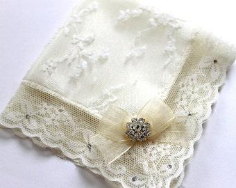 Swarovski Bride Handkerchief, Ivory handkerchief, Lace Hanky, Wedding hankie for daughter