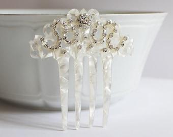 Mother of Pearl Rhinestone Bridal Hair Comb, Art Deco Hair Comb, Art Nouveau, Spanish Comb, Mantilla Veil Accessory, Wedding, Bride