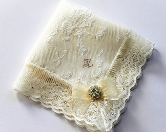 Monogrammed Bride handkerchief, Initial Handkerchief, Something blue bride Custom handkerchief Wedding hanky Bridal shower gift Bride hankie