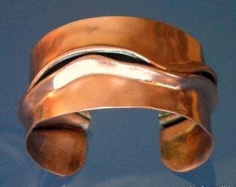 Women Copper Cuff Bracelet Wide