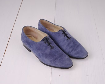 Vintage J. Peterman Company Blue Suede Leather Oxford Shoes, Made in Italy, Womens 7 / ITEM294