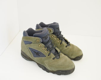 Vintage Reebok Olive Green Suede   Blue Hiking Ankle Boots 03ca521fb