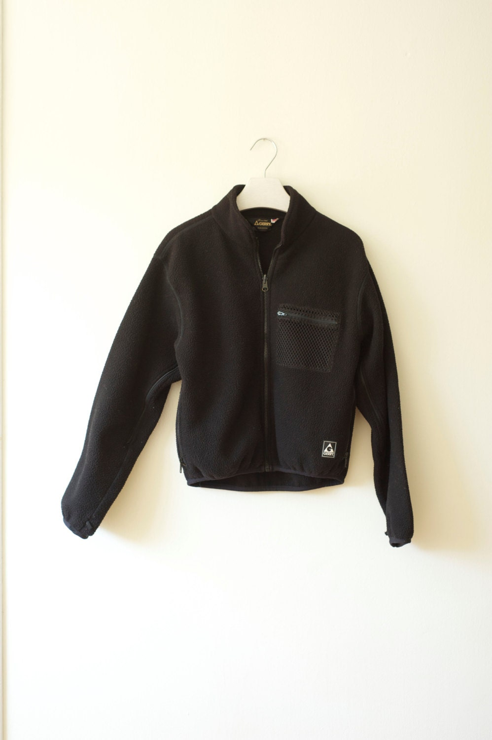 Vintage Gerry Black Fleece Jacket, Made in USA, Mens Small / ITEM522
