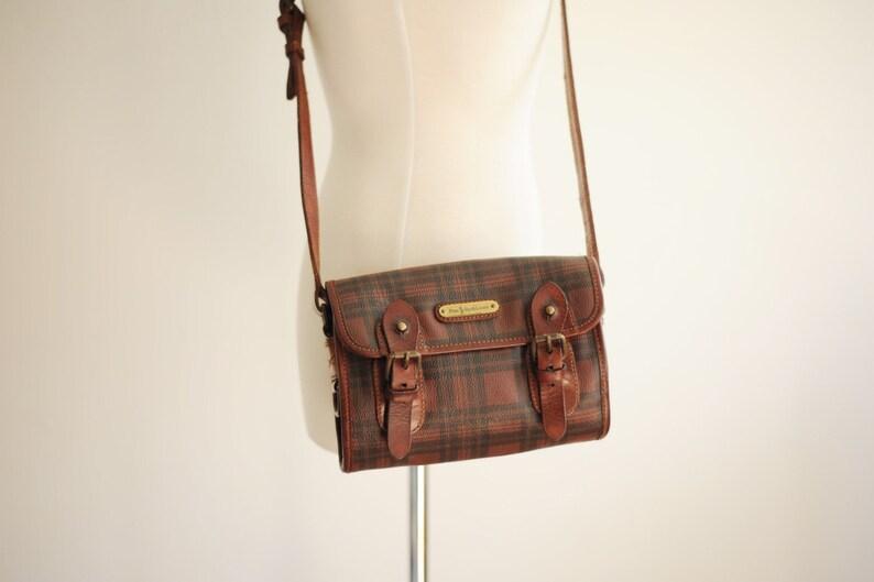 b6e9cc6a77e9 Vintage Polo Ralph Lauren Leather Plaid Purse   ITEM480