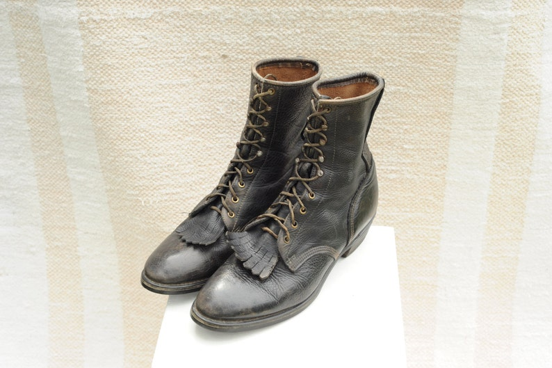 29b697cf031bd Vintage Pebbled Leather Mens Lace Up Roper Boots, Mens 12 / ITEM135
