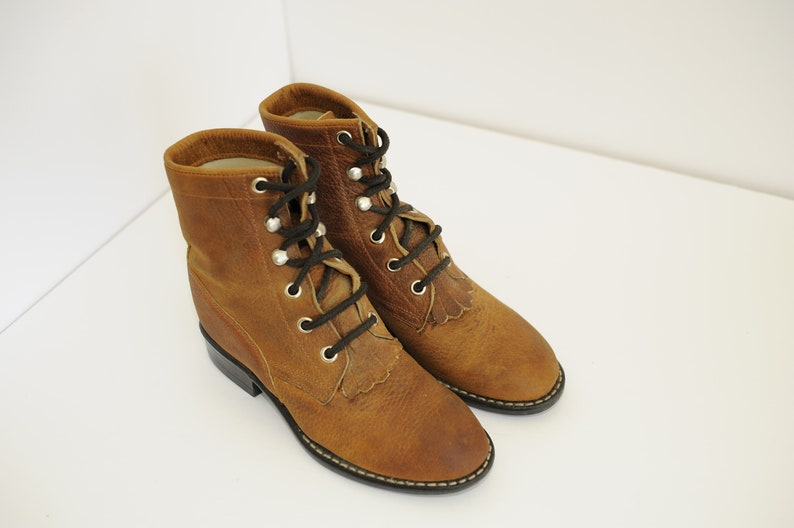 b6b6a0e9519d0 Vintage Brown Pebbled Leather Lace-Up Roper Boots by Old West, Kids 12 /  ITEM-F09