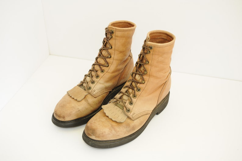 2ad5379e3f959 Vintage Double H Tan Leather Lace Up Roper Boots, Mens 9 1/2 / ITEM-F44