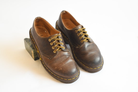 Vintage Dr Martens Brown Leather Oxford Shoes, Mad