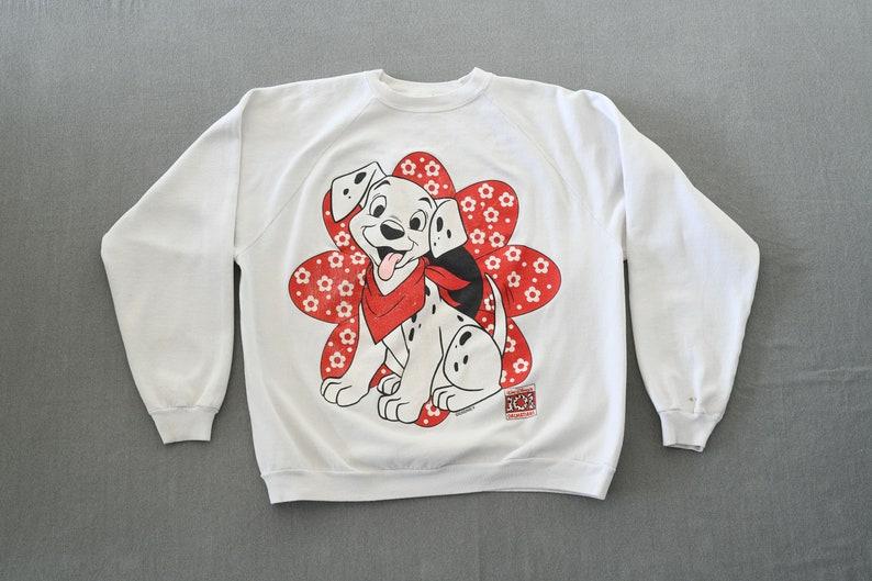 Vintage Disney by Sun Sportswear 101 Dalmatians White Sweatshirt Size Large ITEM-BOI40 Made in USA