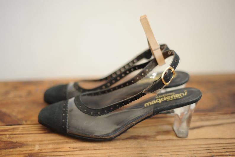 Vintage California Magdesians Clear Vinyl /& Black Fabric Cap Toe Heels Womens 6  ITEM270