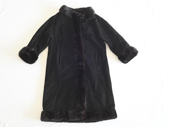 Vintage Sophisticate Petite Black Wool & Fur Long