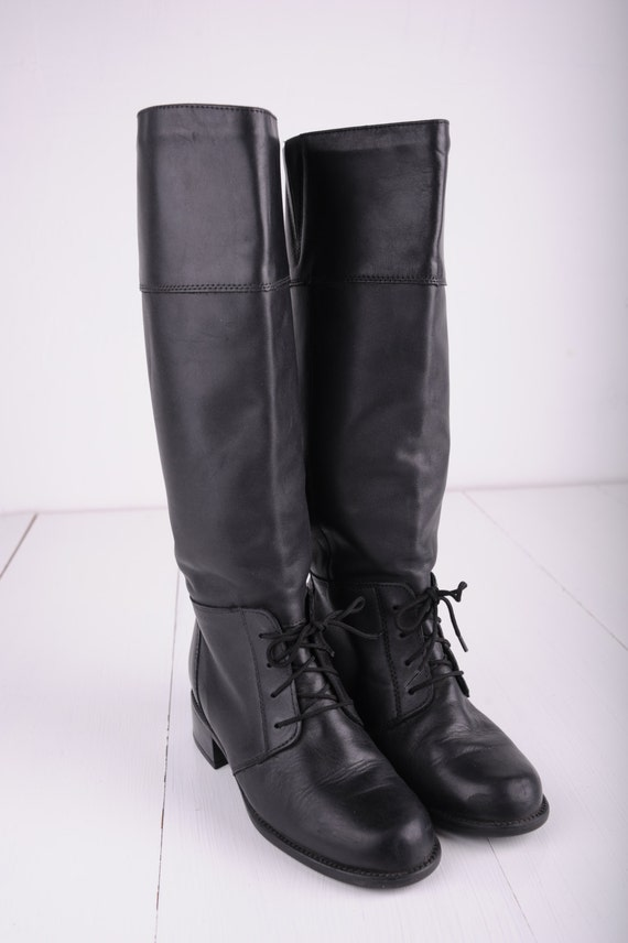 832d3801c8f Vintage Blondo Black Leather Tall Riding Boots, Made in Canada, Womens 6  1/2 / ITEM259