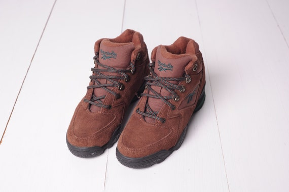 776b572dd80 ... Vintage Reebok Brown Leather Hi Top Ankle Hiking Boots Womens Etsy ...