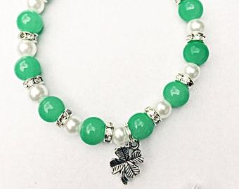 Irish Bracelet, Clover Bracelet, Four-Leaf Clover, Lucky Leaf Bracelet, Elasticated Bracelet, Clover Charm, Good Luck Gift, Gift For Her