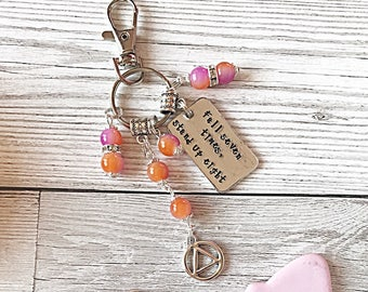 Sobriety Bag Charm, Fall Seven Times Stand Up Eight, Hand Stamped Charm, Zipper Charm, Purse Clip, Recovery Gift, Sobriety Gift, Inspiration