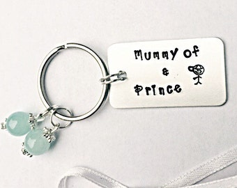 Mummy Of A Prince Keyring - Hand Stamped Prince Keyring - Little Boy Keyring - Prince Keyring - Son Keyring - Gift For Mummy