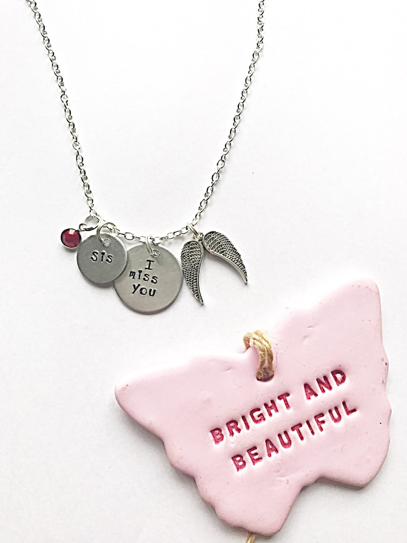 Sister Memorial Necklace For Women Hand Stamped Necklace Memorial Sister Remembrance Gift For Sister Loss Gifts For Loss Of Loved Ones