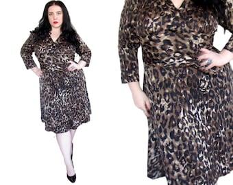 Plus Size Dress l Vintage 1980's Leopard Print Dress l Size 1X l Vintage Dress