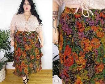 dfca470d20cfb Plus Size Vintage 1980 s Floral Midi Skirt Size XL 14 16 18