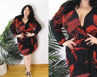 03badd8d6c830 Plus Size Vintage 1980 s Wrap Dress Size XL 14 16