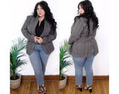 Plus Size Vintage 1980's Grey Wool Blazer - Size XL