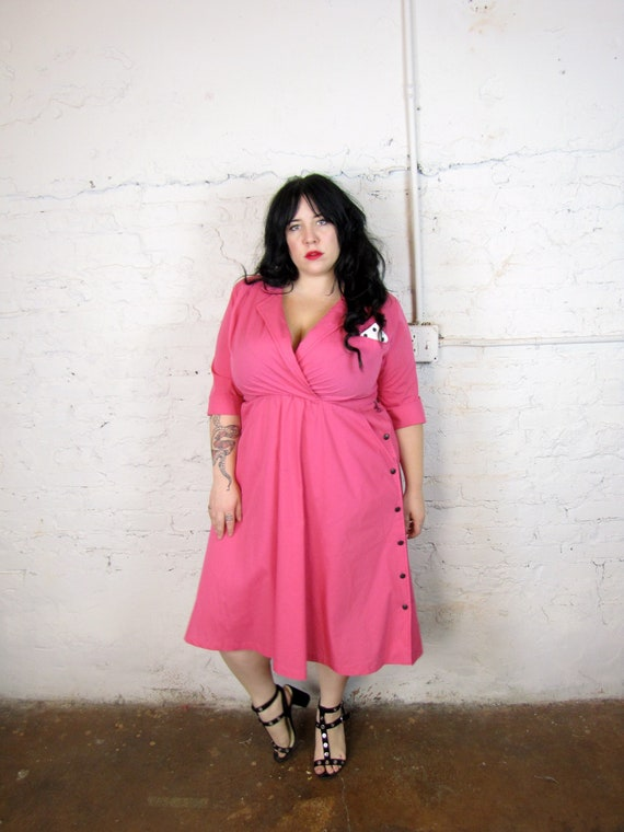 Plus Size Vintage 1980\'s Hot Pink Dress Size XL 14 16 | Etsy