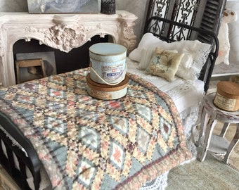 12 th Scale Diamond Patchwork Quilt