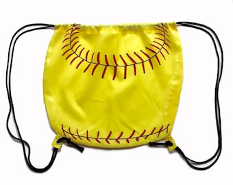 Nylon Softball Drawstring Bag (round)
