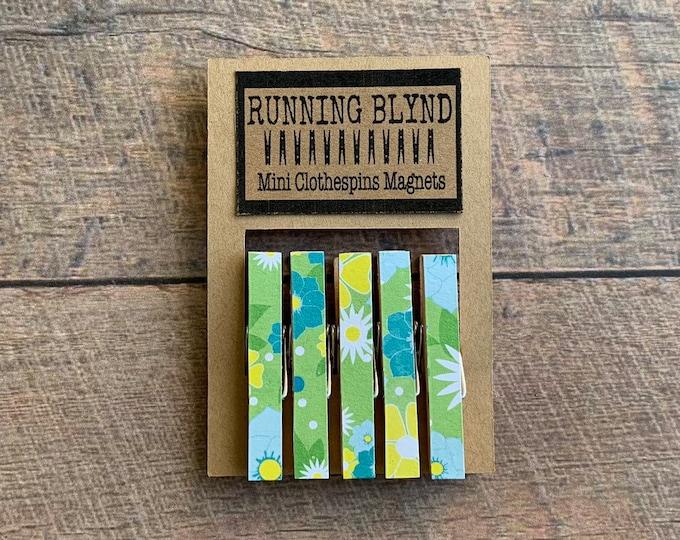 Mini Clothespins. Magnets. Vintage Vibe. Blue Floral. Green Floral. Fridge Magnets. Kitchen Magnets. Magnet Clips. Decorative Clips. Decor.